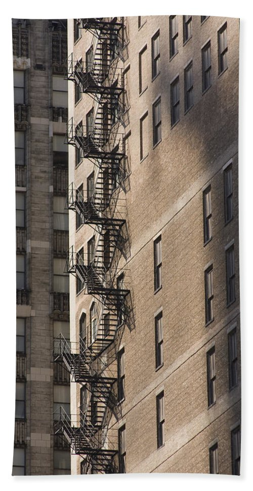 Chicago Windy City Metro Urban Building Stairs Windows Light Shaddow Beach Towel featuring the photograph Stairs by Andrei Shliakhau