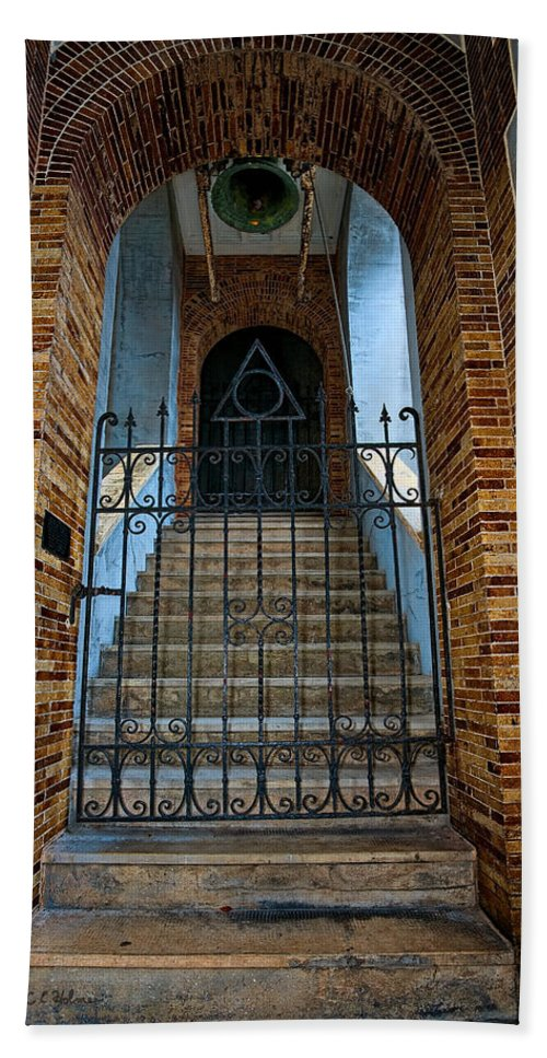 Architecture Beach Towel featuring the photograph Stairs Beyond by Christopher Holmes