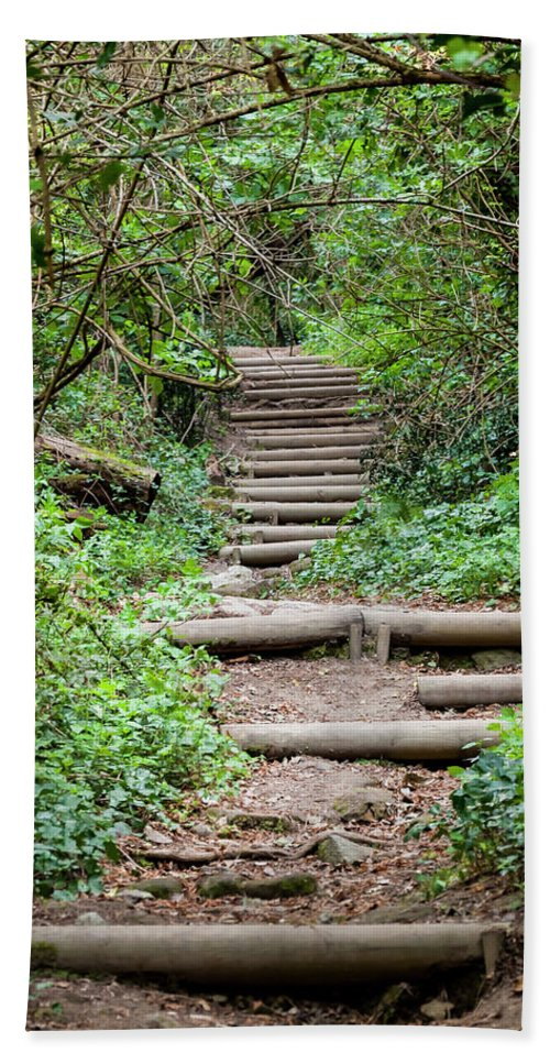 Woods Beach Towel featuring the photograph Stairs Going Up Hillside by Enrico Della Pietra