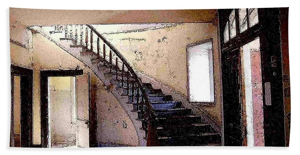 Meade Hotel Beach Towel featuring the photograph Stairway - Meade Hotel - Bannack Mt by Nelson Strong
