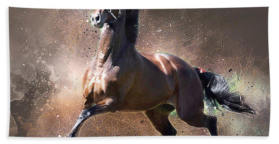Horses Beach Towel featuring the digital art Stallion by Tom Schmidt