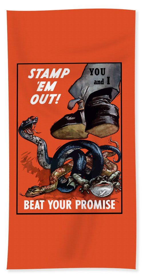 World War Ii Beach Towel featuring the painting Stamp Em Out - Beat Your Promise by War Is Hell Store