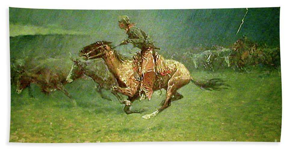 Frederick Remington Beach Towel featuring the painting Stampede By Lightning, Digitally Enhanced, Frederic Remington by Frederic Remington