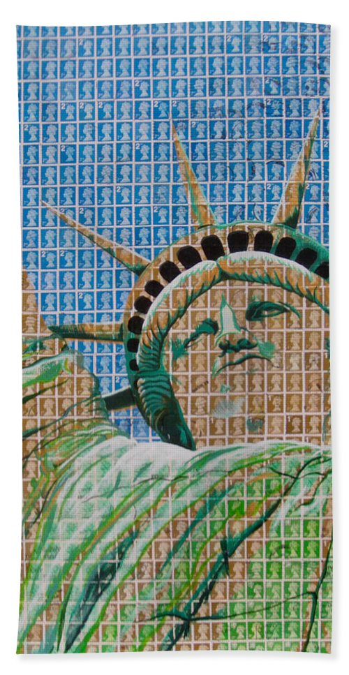 Liberty Beach Towel featuring the painting Stampue Of Liberty by Gary Hogben