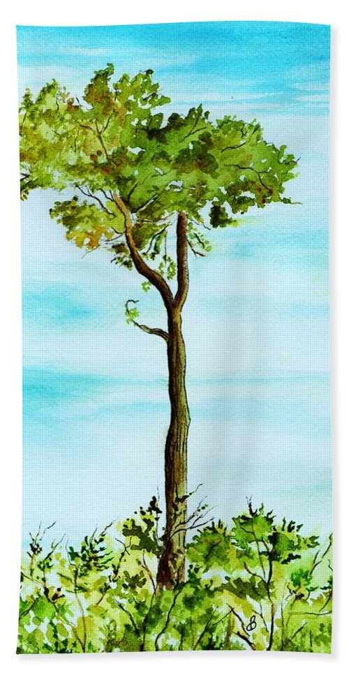 Landscape Beach Towel featuring the painting Standing Alone by Brenda Owen
