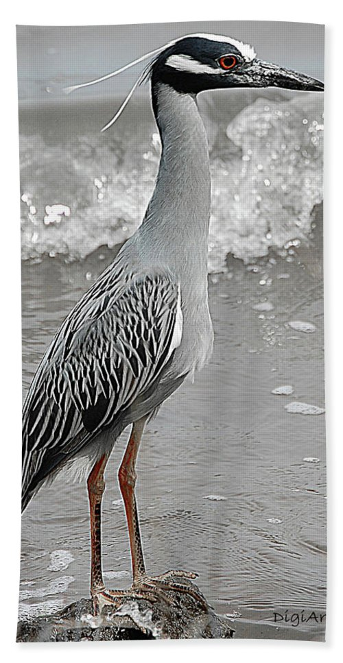 Bird Beach Towel featuring the digital art Standing Proud by DigiArt Diaries by Vicky B Fuller