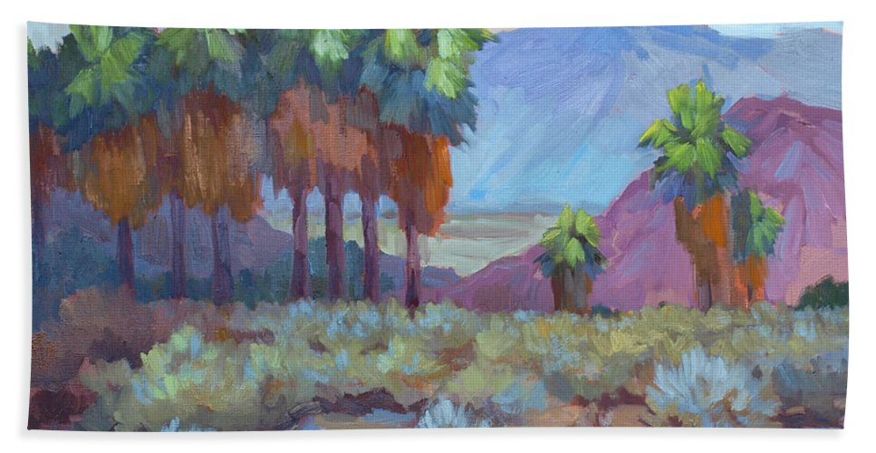 Standing Tall Beach Towel featuring the painting Standing Tall At Thousand Palms by Diane McClary