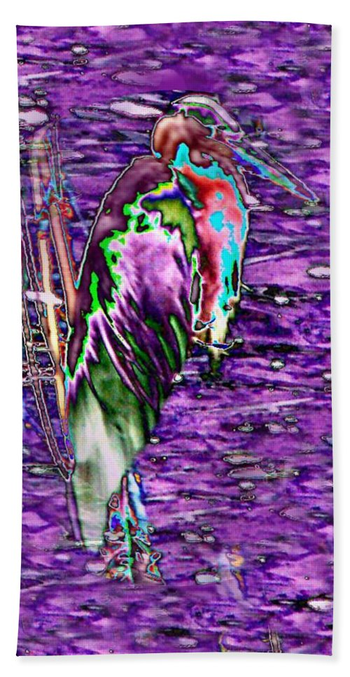 Heron Beach Towel featuring the photograph Standing Watch by Tim Allen