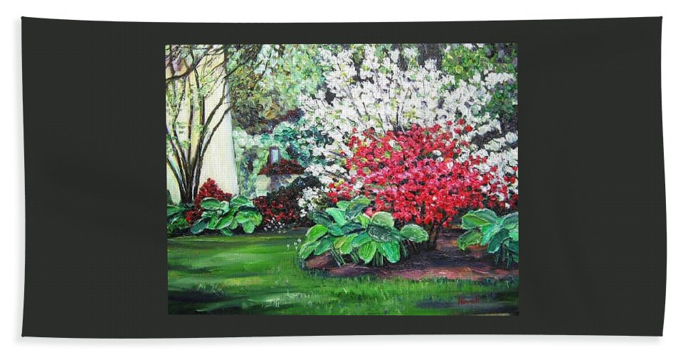 Blossoms Beach Towel featuring the painting Stanely Park Blossoms by Richard Nowak
