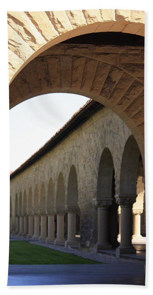 Stanford University Beach Towel featuring the photograph Stanford Memorial Court Arches I by Linda Dunn