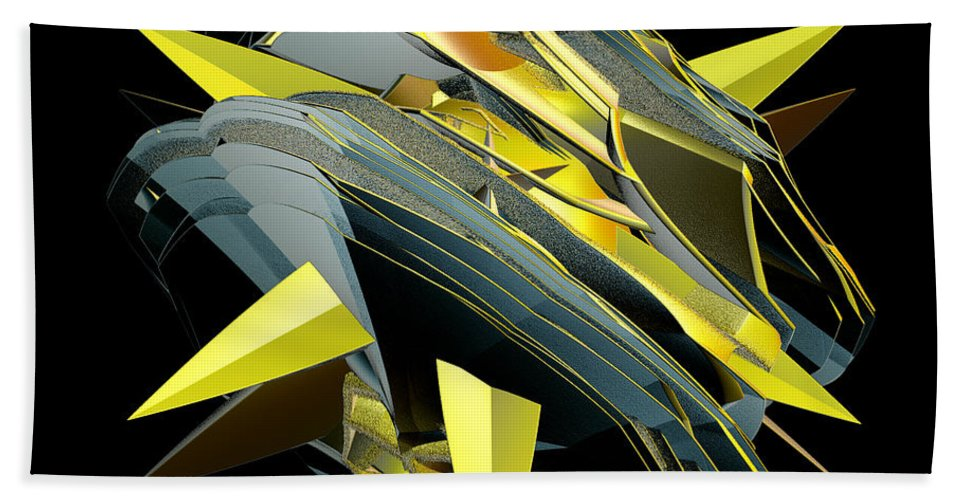 Incendia Beach Towel featuring the digital art Star Of Yellow by Deborah Benoit
