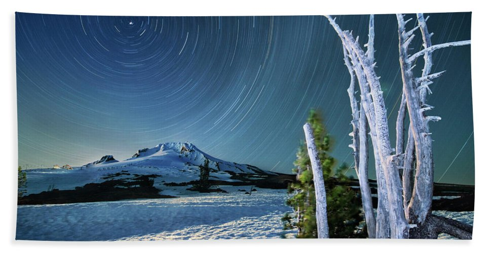 Landscape Beach Towel featuring the photograph Star Trails Over Mt. Hood by William Freebilly photography