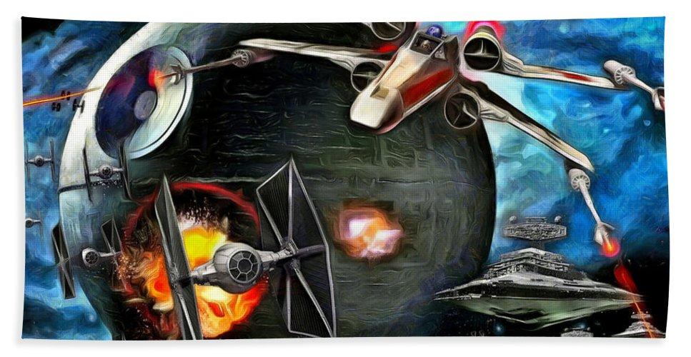 Star Wars 7 Beach Towel featuring the painting Star Wars Worlds At War by Leonardo Digenio