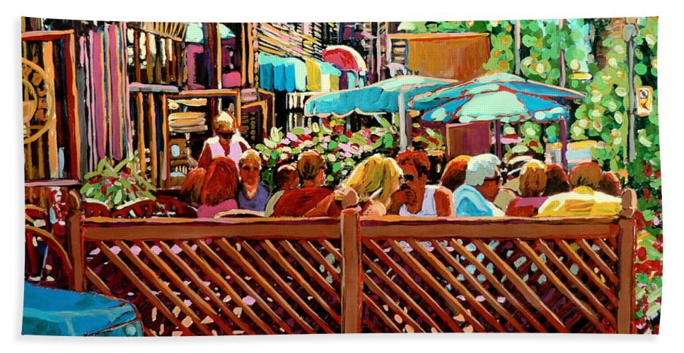 Starbucks Cafe On Monkland Montreal Cityscene Beach Towel featuring the painting Starbucks Cafe On Monkland Montreal Cityscene by Carole Spandau