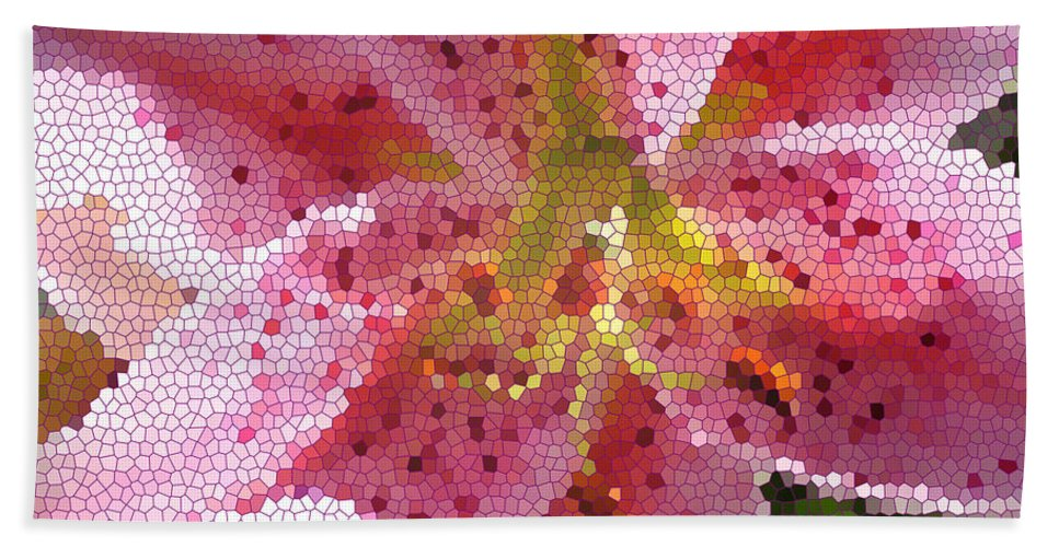 Digital Art Beach Towel featuring the digital art Stargazer Stained Glass by Barbara Griffin