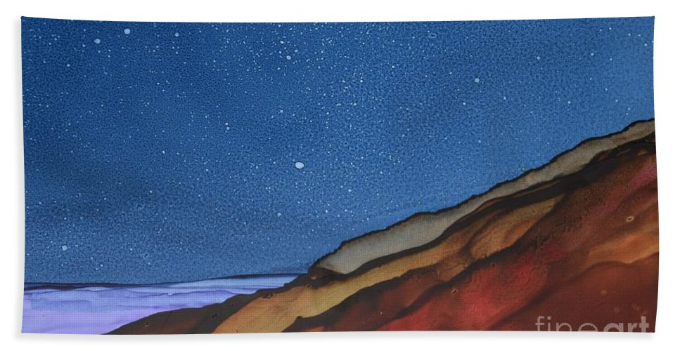 Landscape Beach Towel featuring the painting Starlight by Beth Kluth