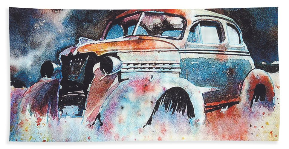Chev Beach Towel featuring the painting StarlightChevy by Ron Morrison