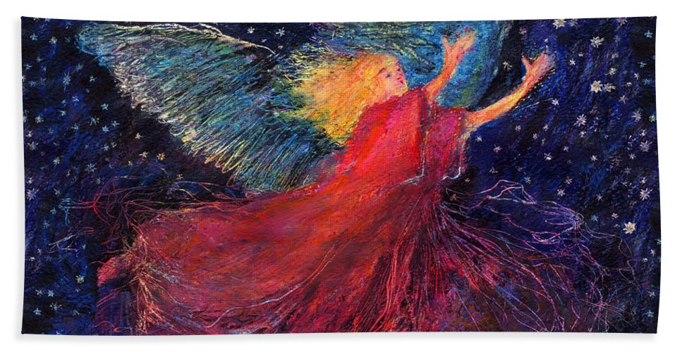 Angel Beach Towel featuring the painting Starry Angel by Diana Ludwig