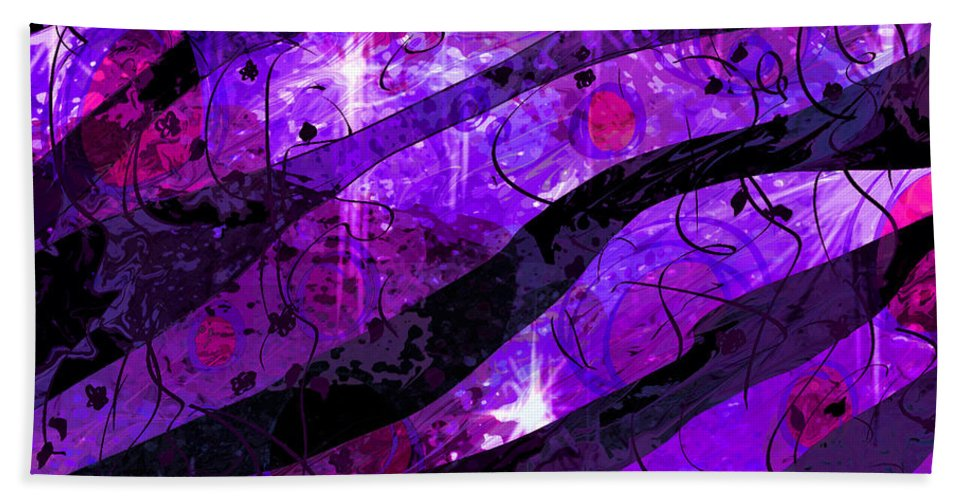 Abstract Beach Towel featuring the digital art Starry Eyed And Black Lace by Rachel Christine Nowicki