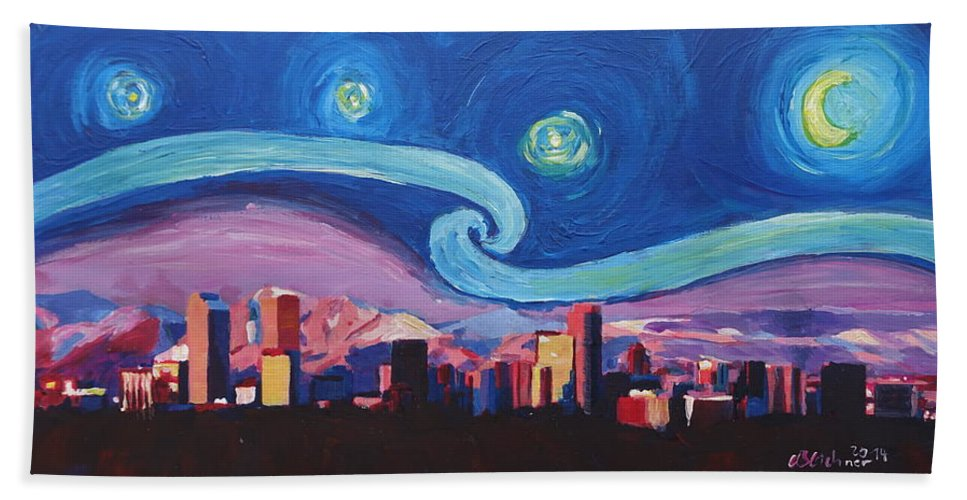 Elegant Denver Colorado Beach Towel featuring the painting Starry Night In Denver Colorado Skyline With Mountains by HD - New paint nite denver Ideas