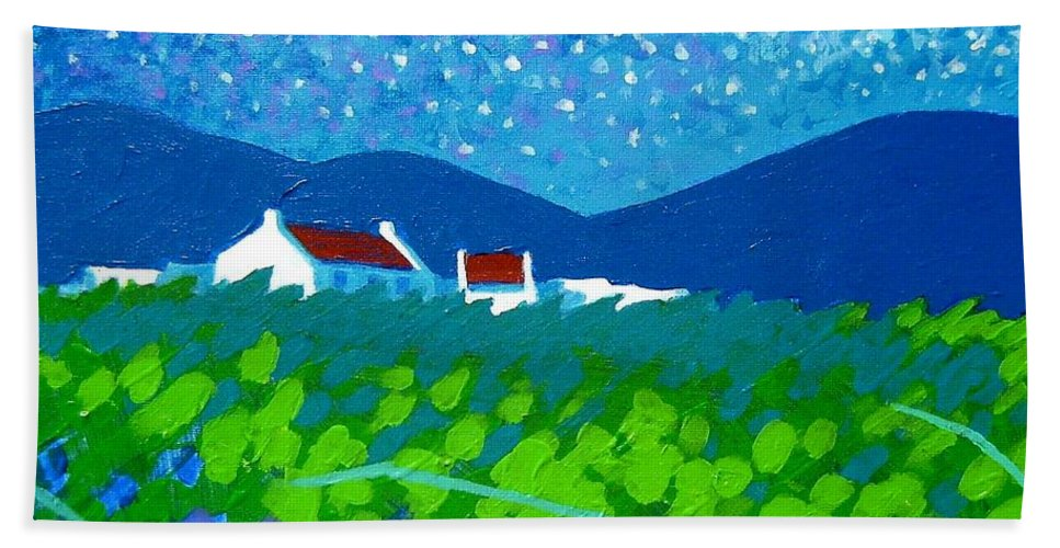 Acrylic Beach Towel featuring the painting Starry Night In Wicklow by John Nolan
