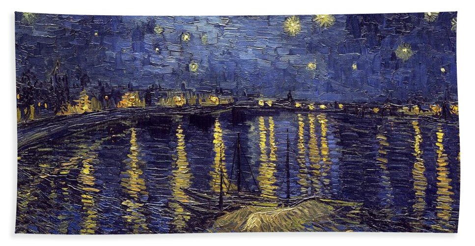 Vincent Van Gogh Beach Towel featuring the painting Starry Night Over The Rhone by Van Gogh