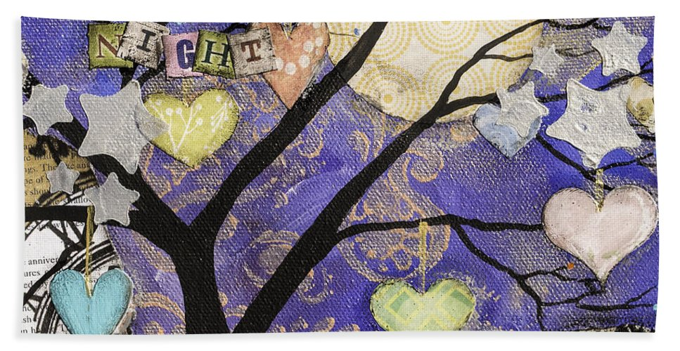 Tree Beach Towel featuring the mixed media Starry Night by Wendy Provins