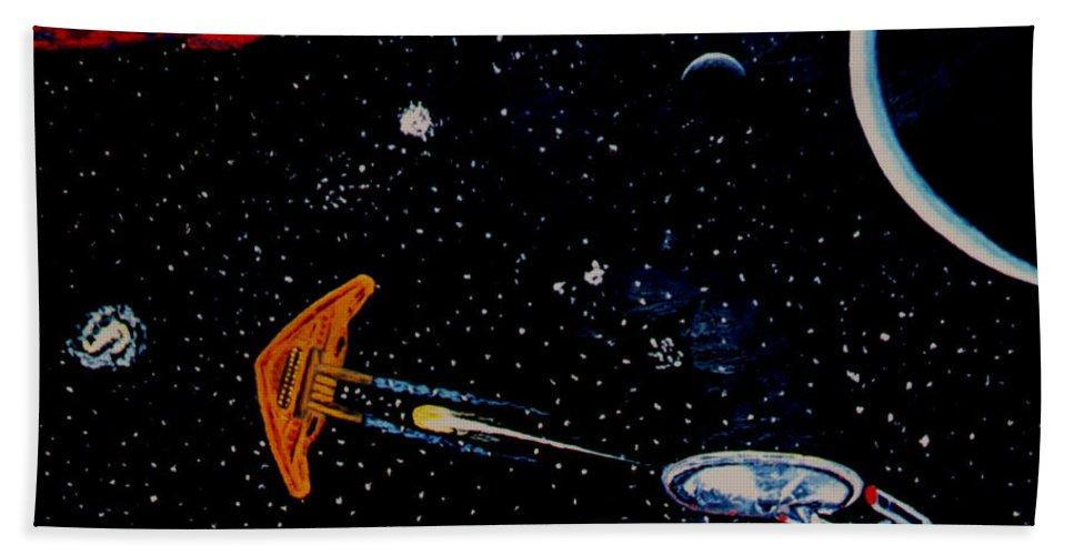 Startrel.scoemce Foxopm.s[ace.[;amets.stars Beach Sheet featuring the painting Startrek by Stan Hamilton