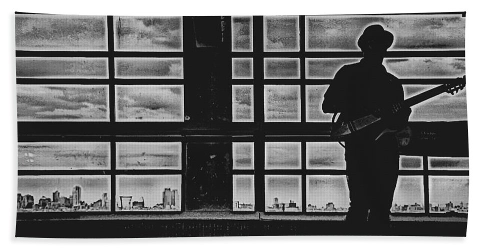 Black And White Photography Beach Towel featuring the photograph Staten Island Silhouette by Lynn Terry