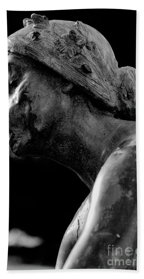 Statue Beach Towel featuring the photograph Statue In Black And White by Kathleen K Parker