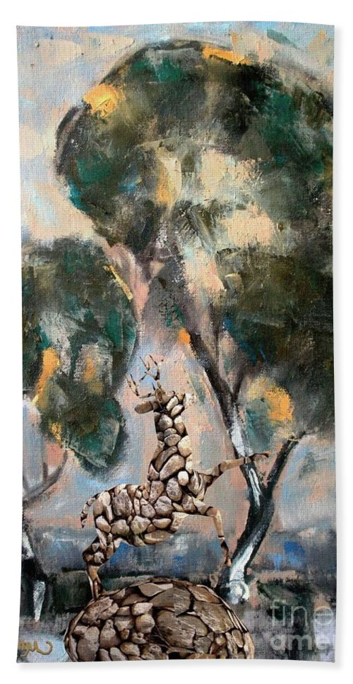 Modern Painting Beach Towel featuring the mixed media Statue Of Deer 6 by Pemaro
