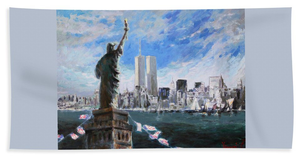 Landscape Beach Towel featuring the painting Statue Of Liberty And Tween Towers by Ylli Haruni