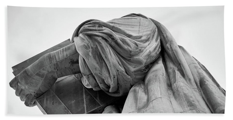 4th Of July Beach Towel featuring the photograph Statue Of Liberty, Arm, 2 by Marco Catini