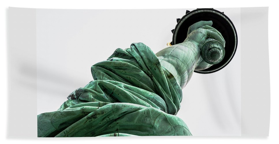4th Of July Beach Towel featuring the photograph Statue Of Liberty, Arm, 3 by Marco Catini