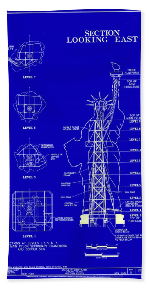 Statue of liberty blueprint beach towel for sale by andrew fare new york beach towel featuring the photograph statue of liberty blueprint by andrew fare malvernweather Gallery