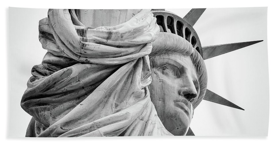 4th Of July Beach Towel featuring the photograph Statue Of Liberty, Lateral Portrait by Marco Catini