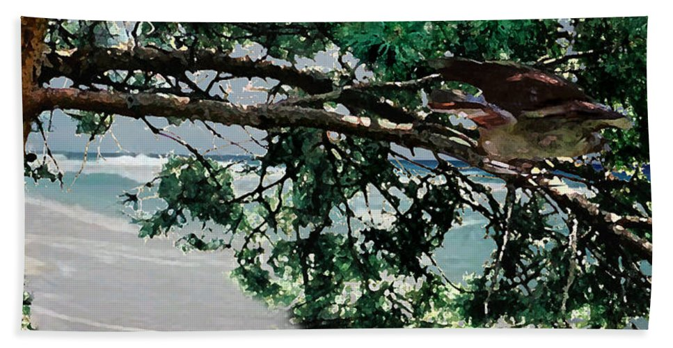 Landscape Beach Sheet featuring the painting Stealth by Steve Karol