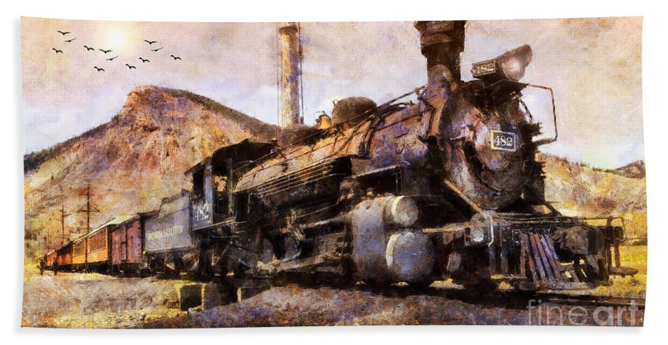 San Juan Mountains Beach Towel featuring the digital art Steam Locomotive by Ian Mitchell
