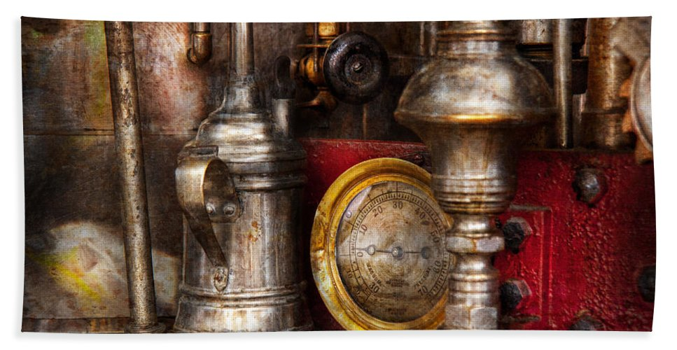 Hdr Beach Towel featuring the photograph Steampunk - Needs Oil by Mike Savad