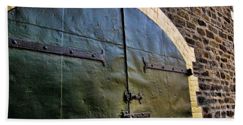 Winery Beach Towel featuring the photograph Steel Doors by Douglas Barnard