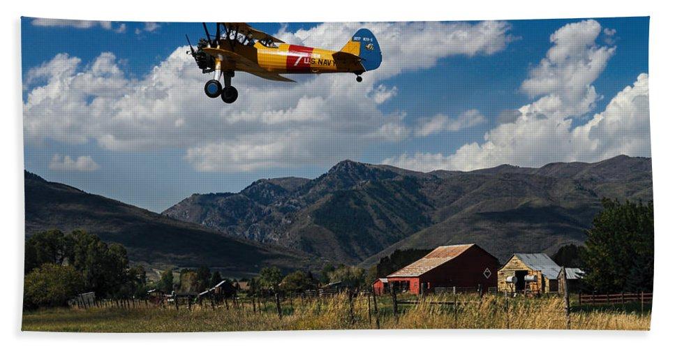 Airplane Beach Towel featuring the photograph Steerman Bi-plane by Nick Gray
