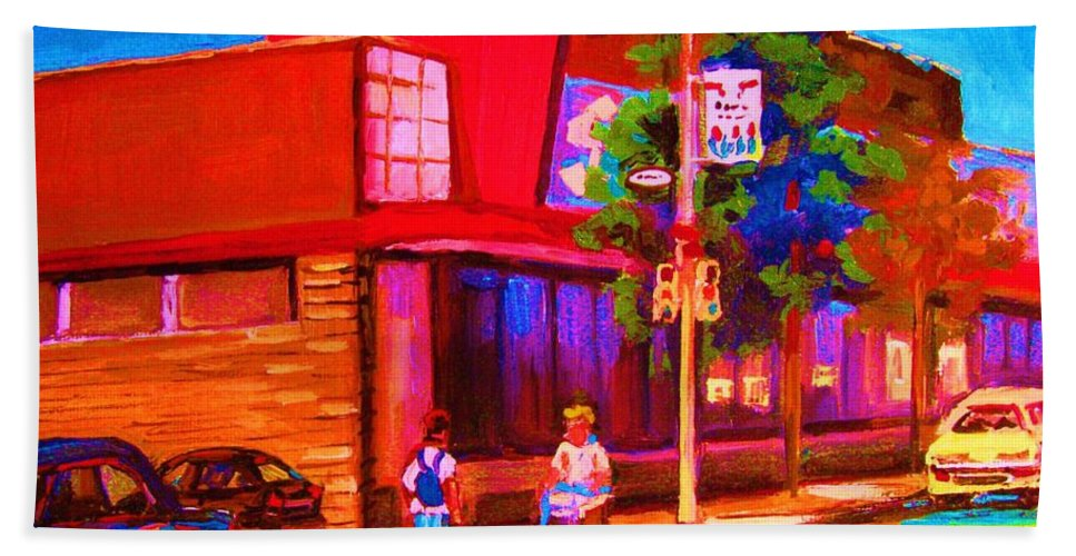 Steinbergs Beach Towel featuring the painting Steinbergs Supermarket by Carole Spandau