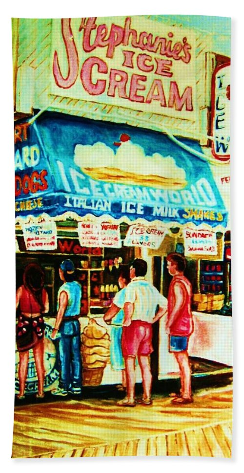 Children Beach Towel featuring the painting Stephanies Icecream Stand by Carole Spandau