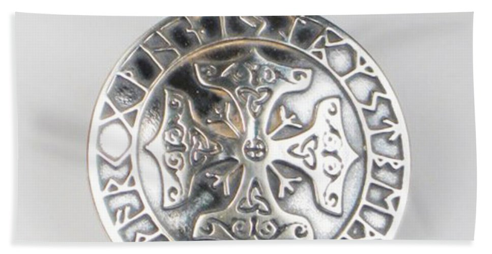 Viking Cross Beach Towel featuring the jewelry Sterling Silver Viking Celtic Cross by Virginia Vivier