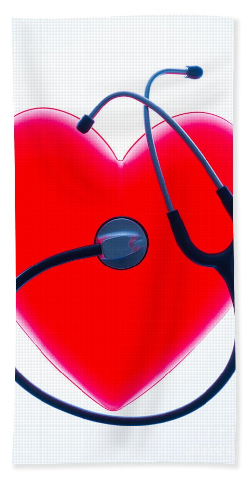 Auscultation Beach Towel featuring the photograph Stethoscope And Plastic Heart by Voisin/Phanie