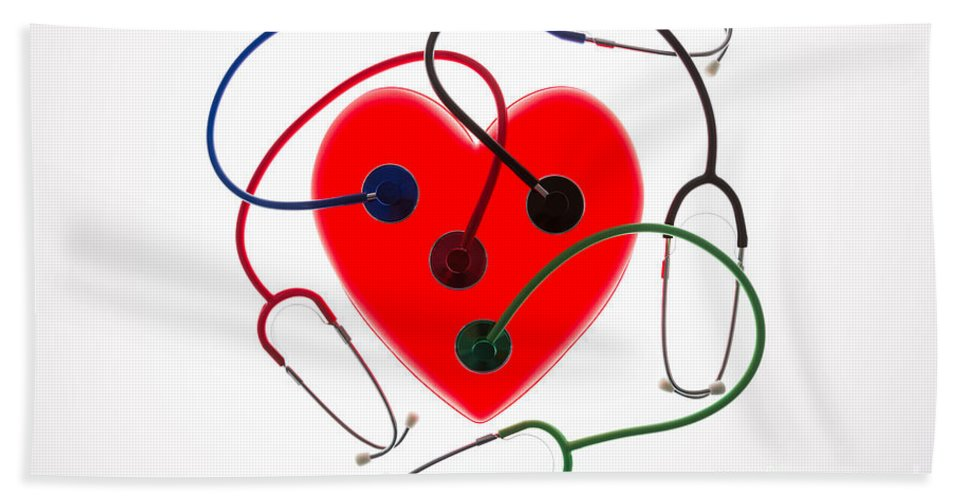 Auscultation Beach Towel featuring the photograph Stethoscopes And Plastic Heart by Voisin/Phanie