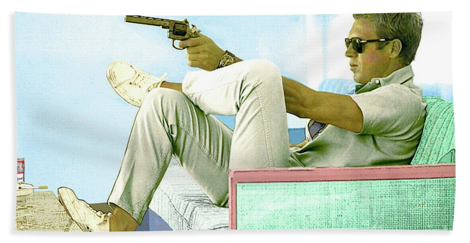 Steve Mcqueen Beach Towel featuring the mixed media Steve Mcqueen, Colt Revolver, Palm Springs, Ca by Thomas Pollart