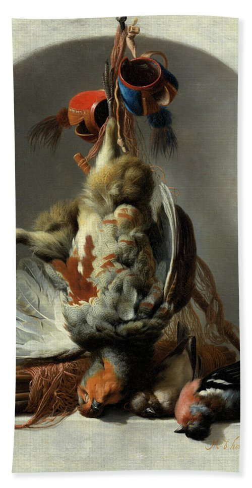 Hunting Motifs Beach Towel featuring the painting Stil Life With Birds And Hunting Gear In A Niche by Melchior de Hondecoeter