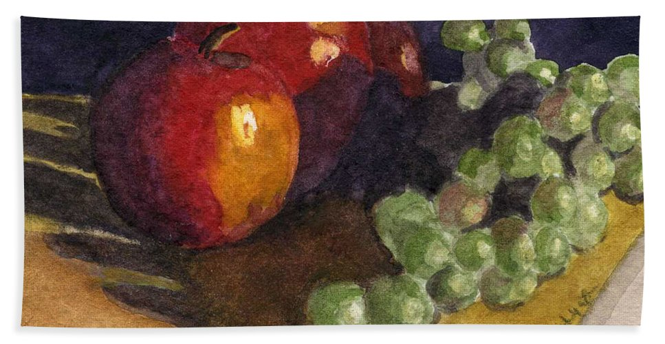 Watercolor Beach Towel featuring the painting Still Apples by Lynne Reichhart