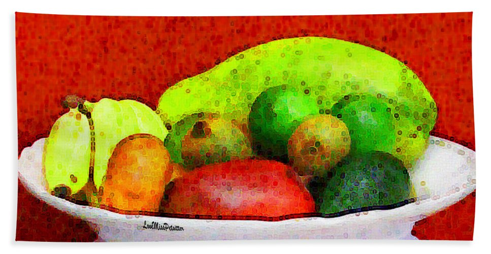 Art Beach Sheet featuring the digital art Still Life Art With Fruits by Miss Pet Sitter